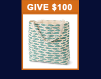 Give $100 and receive a tote bag
